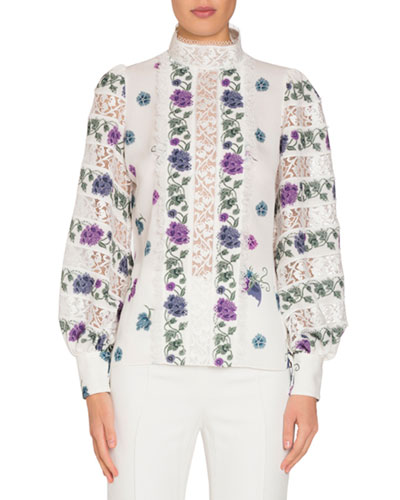 Long-Sleeve Printed Silk Blouse with Lace Insets