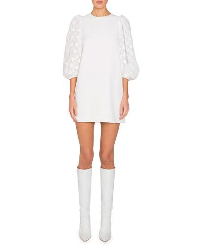 Lace Puff-Sleeve Shift Dress