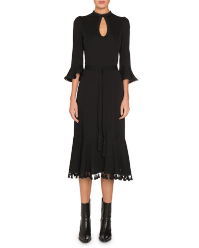 Flare-Sleeve Keyhole Jersey Dress with Fringe