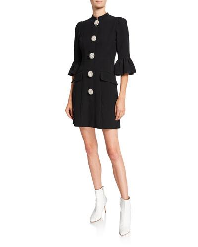 3/4-Sleeve Flared-Cuff A-Line Dress