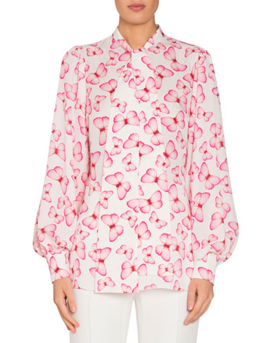 Butterfly-Print Tie-Neck Blouson-Sleeve Silk Blouse