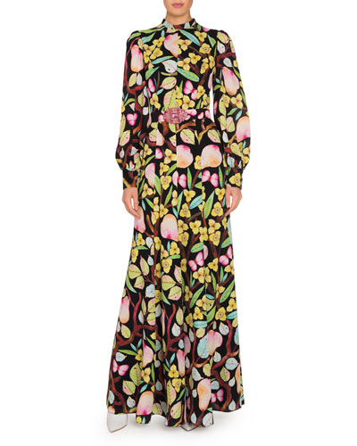 Printed Silk Long-Sleeve Dress with Belt
