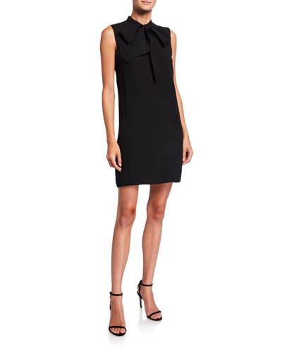 Tie-Neck Sleeveless Silk Short Dress