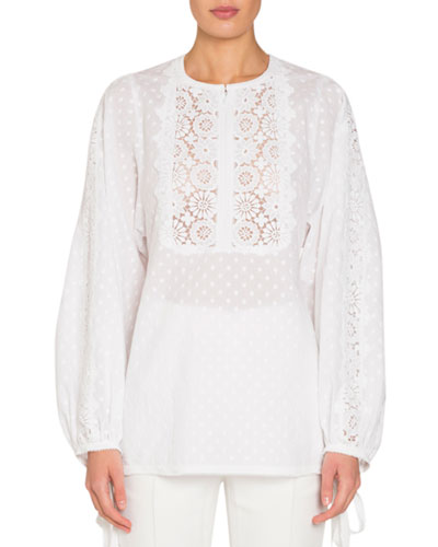 Dotted Long-Sleeve Blouse with Eyelet Lace