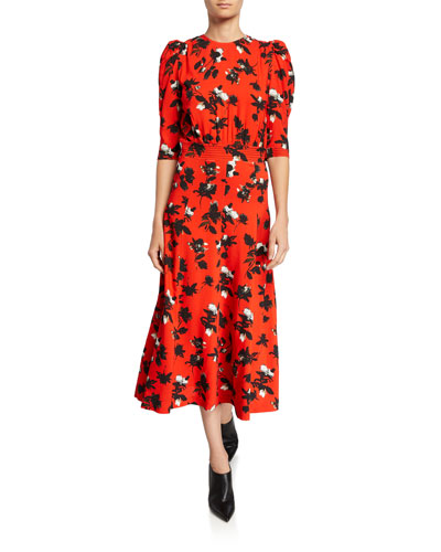 Floral-Print Puff-Sleeve Midi Dress