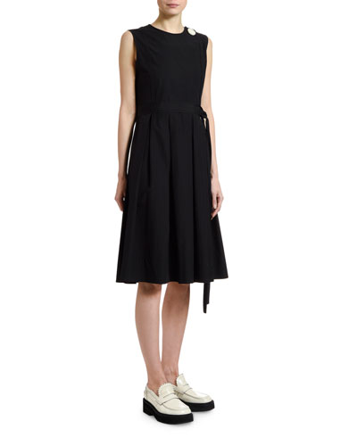 Cotton Poplin Button-Front Dress