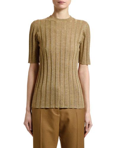 Short-Sleeve Shimmer Rib-Knit Sweater