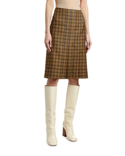 Knee-Length Pleated Plaid Skirt