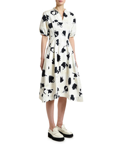 Short-Sleeve Floral Gabardine Dress