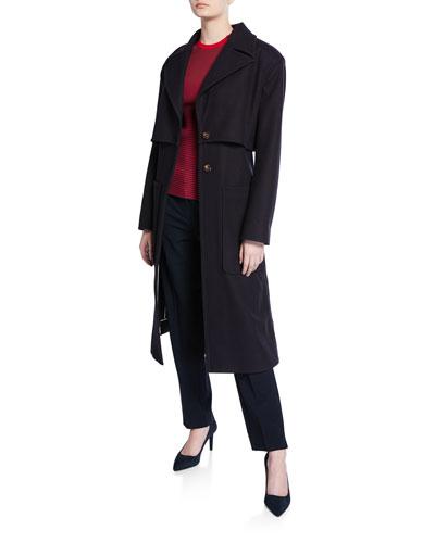 Plaid-Panel Zip-Back Wool Trench Coat