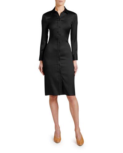 Knee-Length Satin Shirtdress