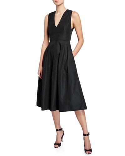 Empire-Waist Taffeta Midi Dress
