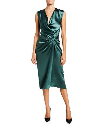 Silk Satin Knotted-Waist Midi Dress