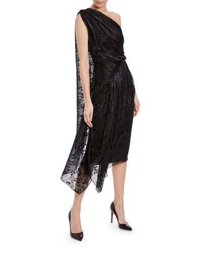 One-Shoulder Jacquard Jersey Cocktail Dress