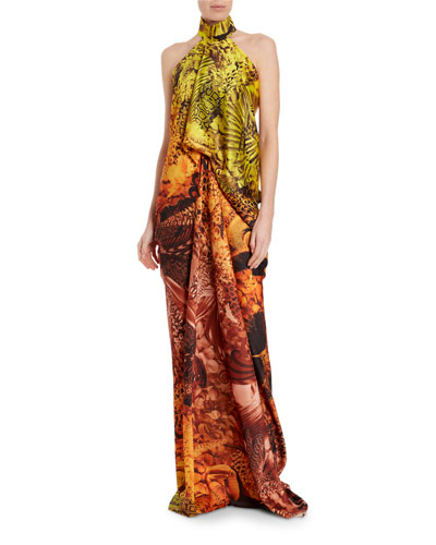 Snake Print Draped Bustier Halter Gown