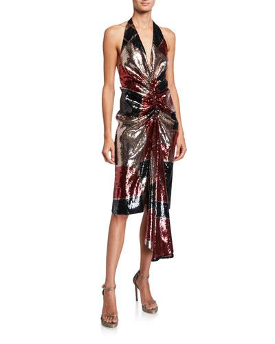 Geometric-Print Sequined Dress