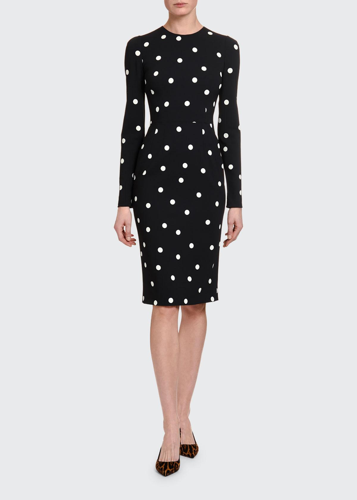 Dolce & Gabbana Dresses LONG-SLEEVE POLKA-DOT CASHMERE BODYCON DRESS