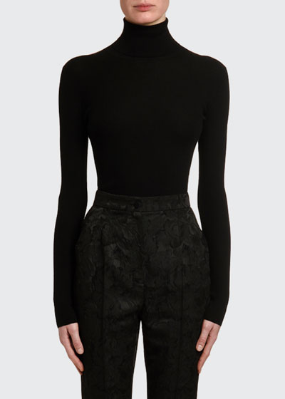 Cashmere-Silk Thin-Ribbed Turtleneck Sweater