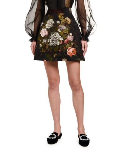 Baroque Rose-Jacquard Skirt