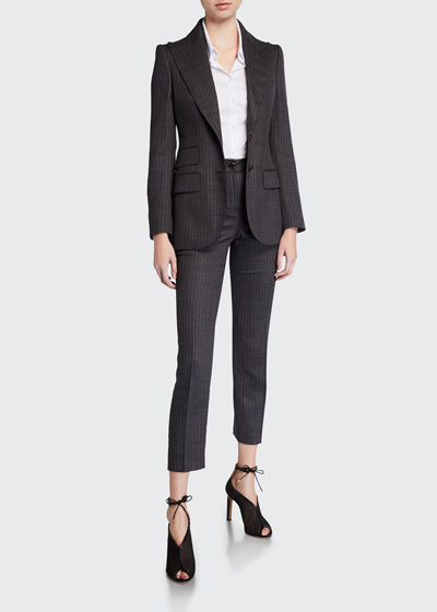 Wool Pinstriped Slim-Leg Pants