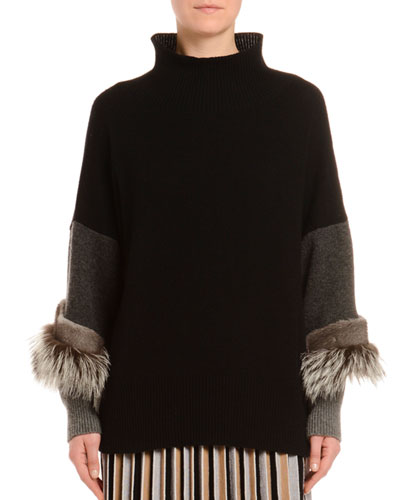 Cashmere Fox & Mink Trim Turtleneck Sweater
