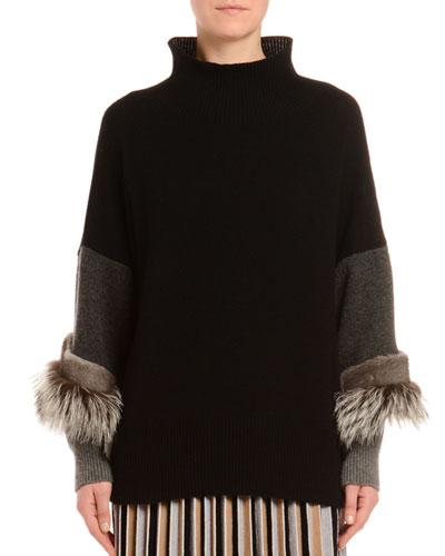 Cashmere Fox & Mink Trim Turtleneck Sweater