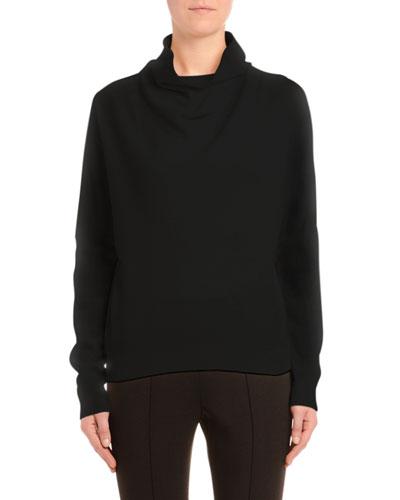 Cashmere Cowl Neck Sweater, Black