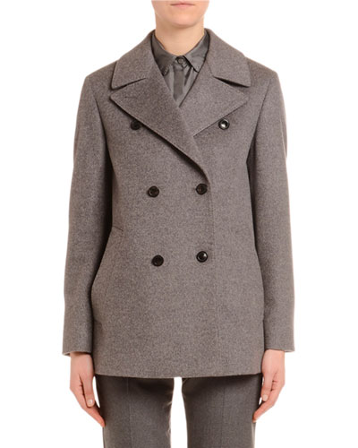Cashmere Flannel Double-Breasted Pea Coat