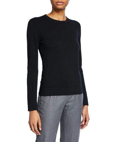 Cashmere Tubular-Finish Crewneck Sweater