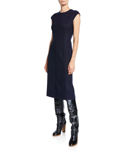 Cashmere Jersey Cap-Sleeve Tubino Dress