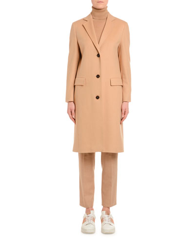 Cashmere Single-Breasted Slim Coat, Camel