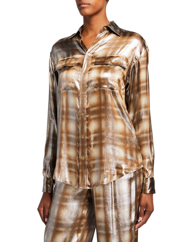 Antoinette Menswear Plaid Blouse