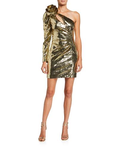 One-Sleeve Sequined Mini Dress