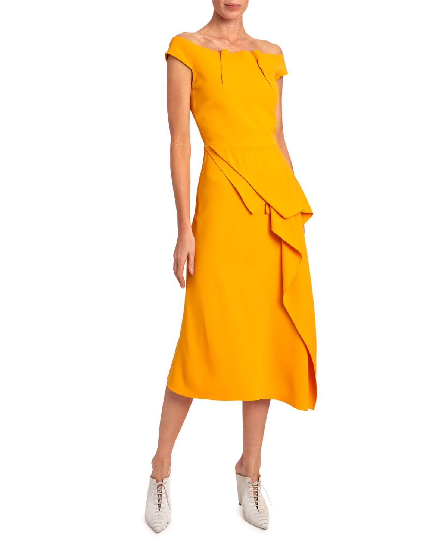 Roland Mouret Dresses ARCH OFF-THE-SHOULDER ASYMMETRIC DRESS