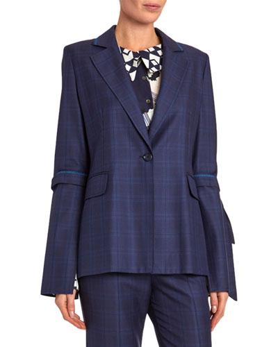 Wollaston Elbow-Tie Windowpane Jacket