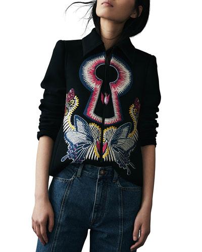 Key-Embroidered Bomber Jacket