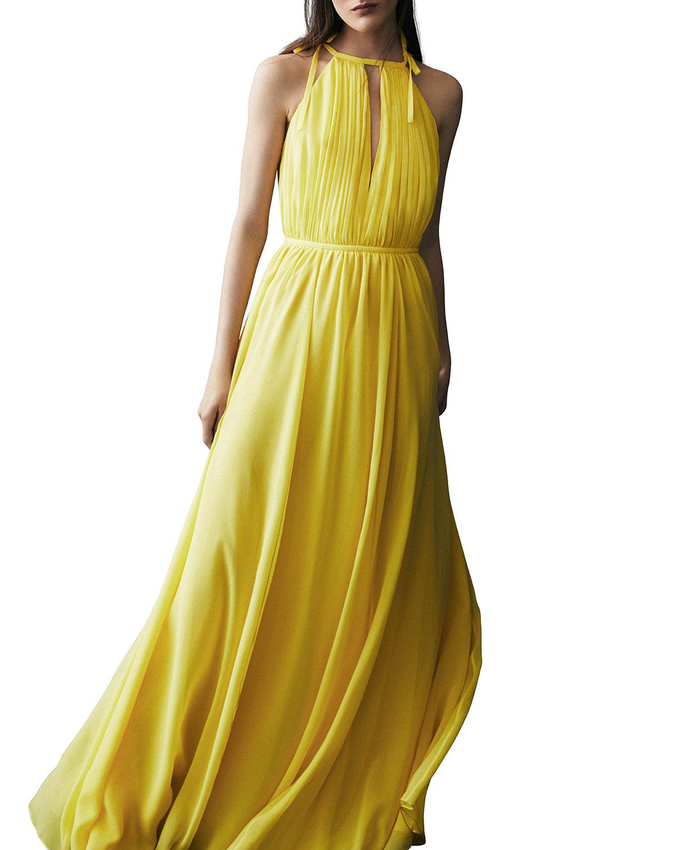 Sleeveless Silk Halter Gown, Yellow