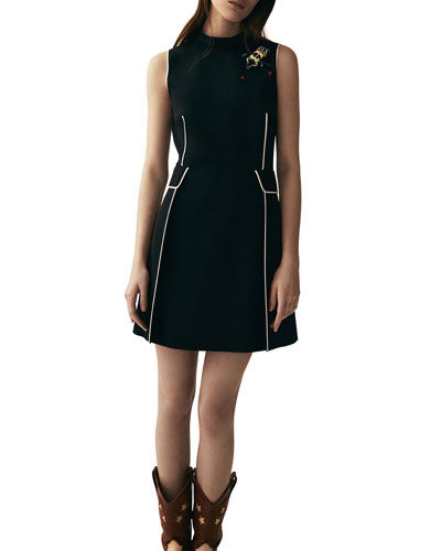 Sleeveless Contrast-Piped Mini Dress