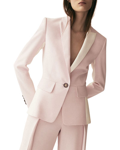 Padlock-Button Two-Tone Silk Blazer