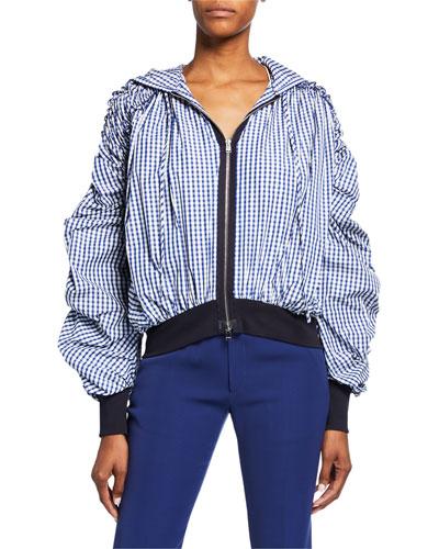 Ruched-Sleeve Zip-Front Gingham Sweatshirt