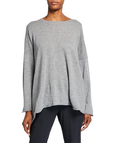 Cashmere Bateau-Neck Cascading-Side Sweater