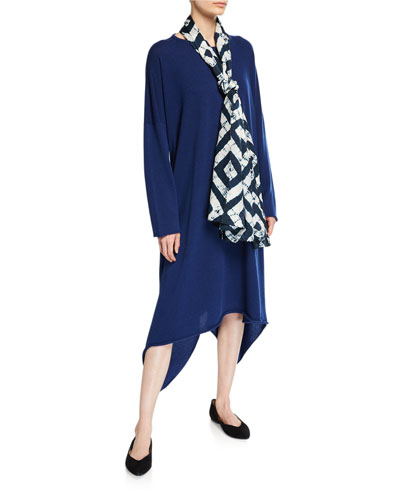 Cashmere Side-Cascading Boat Neck Dress