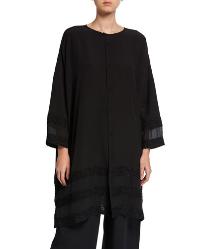 Long Sheer-Paneled Button-Front Shirt