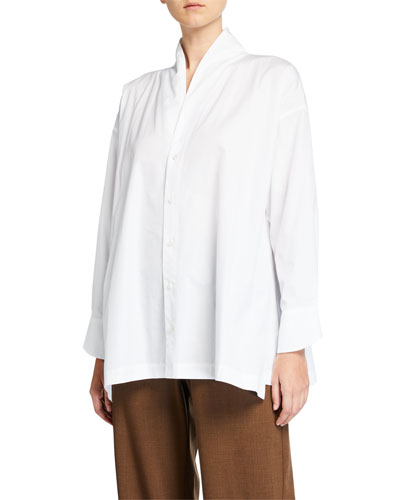 Cotton Scrunched-Neck Slim A-Line Shirt