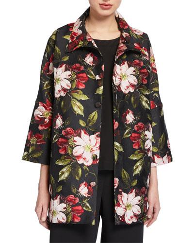 Floral Print Sloped-Shoulder Shirt Jacket