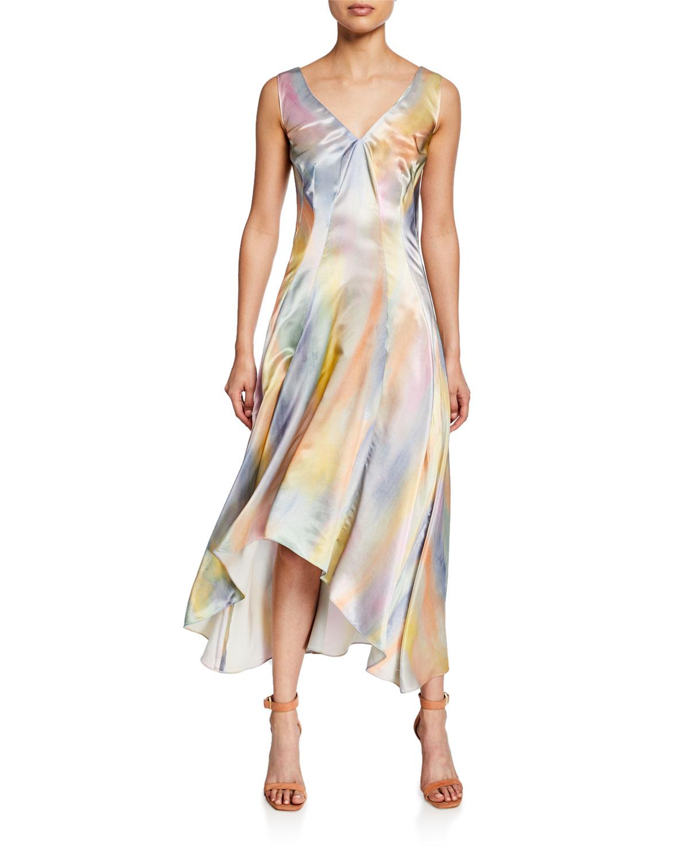 Sies Marjan Dresses TIE-DYE SATIN ASYMETRIC MIDI DRESS