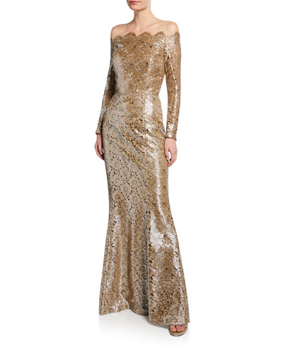 Off-the-Shoulder Belted Metallic-Lace Gown