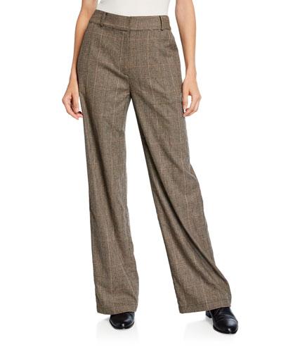 Glen-Plaid Cropped Pants