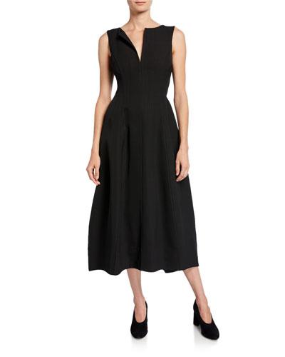 Curved V-Neck Lantern-Hem Dress