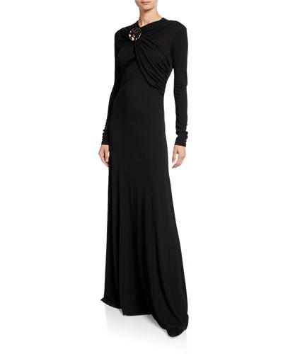 Long-Sleeve Wrapped Golden Button Dress